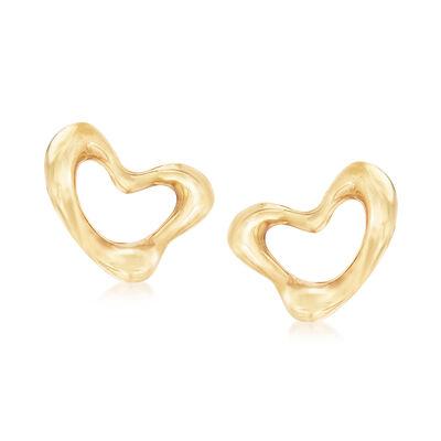 "C. 1990 Vintage Tiffany Jewelry ""Elsa Peretti"" Heart Clip-On Earrings in 18kt Yellow Gold, , default"