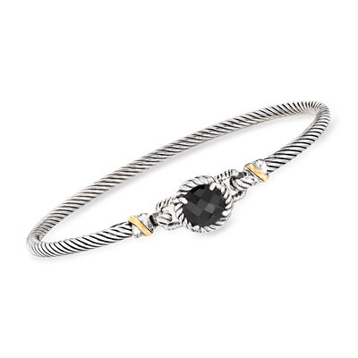 "Phillip Gravriel ""Italian Cable""  Black Onyx Bracelet in Sterling Silver with 18kt Yellow Gold"