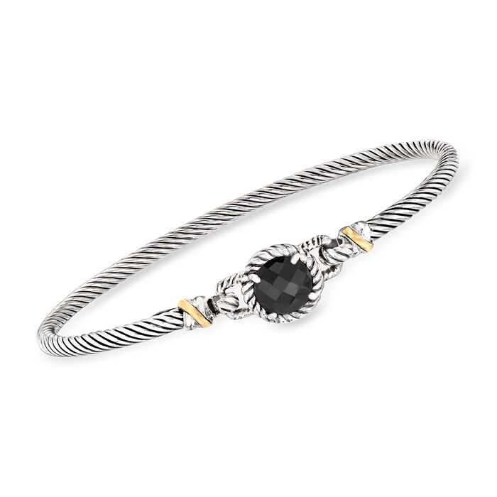 "Phillip Gravriel ""Italian Cable""  Black Onyx Bracelet in Sterling Silver with 18kt Yellow Gold. 7.5"", , default"