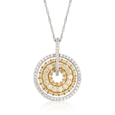 1.53ct. t.w. Yellow and White Diamond Concentric Circle Necklace in 14kt and 18kt Yellow Gold  , , default