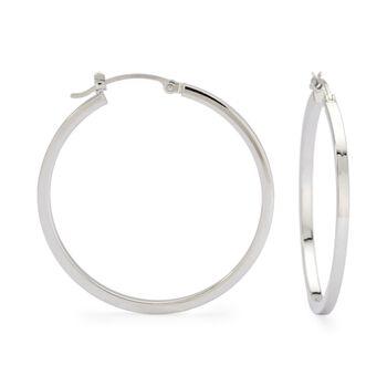 """14kt White Gold Hoop Earrings. 1"""", , default"""