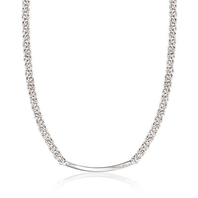 Italian Sterling Silver Byzantine Curved Bar Necklace, , default