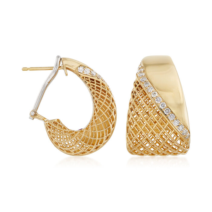 Roberto Coin .40 ct. t.w. Diamond Hoop Earrings in 18kt Yellow Gold. 7/8""