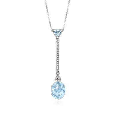 C. 1990 Vintage 6.07 ct. t.w. Aquamarine and .30 ct. t.w. Diamond Drop Necklace in 14kt White Gold