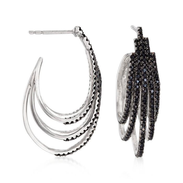1.40 ct. t.w. Black Spinel Layered J-Hoop Earrings in Sterling Silver , , default
