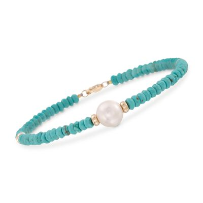 9-10mm Cultured Pearl and Turquoise Bead Bracelet in 14kt Yellow Gold , , default