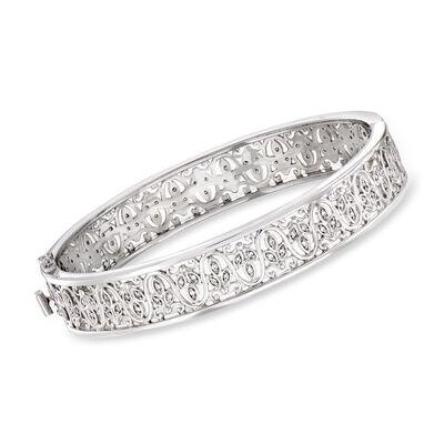 C. 2000 Vintage .75 ct. t.w. Diamond Filigree Bangle Bracelet in 14kt White Gold, , default