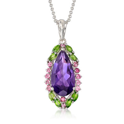 5.86 ct. t.w. Multi-Gemstone Pendant Necklace in Sterling Silver, , default