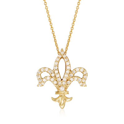 Roberto Coin .25 ct. t.w. Diamond Fleur De Lis Necklace in 18kt Yellow Gold
