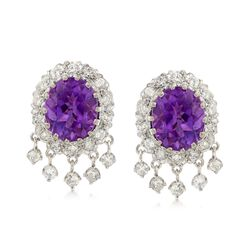 C. 1980 Vintage 10.00 ct. t.w. Amethyst and 1.60 ct. t.w. Diamond Oval Clip-On Earrings in 14kt White Gold , , default