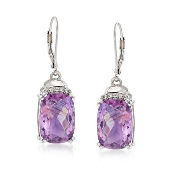 11.00 ct. t.w. Amethyst and .10 ct. t.w. White Topaz Earrings in Sterling Silver, , default