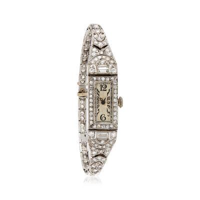 C. 1940 Vintage Women's 3.05 ct. t.w. Diamond 13mm Watch in Platinum, , default