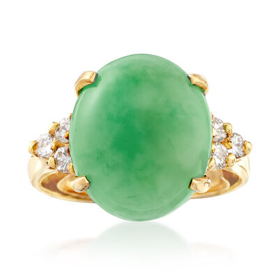 C. 1970 Vintage Green Jade and .25 ct. t.w. Diamond Ring in 14kt Yellow Gold, , default