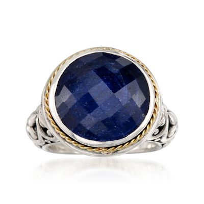 Balinese 15.00 Carat Sapphire Ring in 14kt Yellow Gold and Sterling Silver