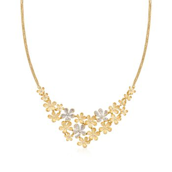 """.20 ct. t.w. Diamond and .10 ct. t.w. White Topaz Floral Bib Necklace in 18kt Gold Over Sterling. 20"""", , default"""