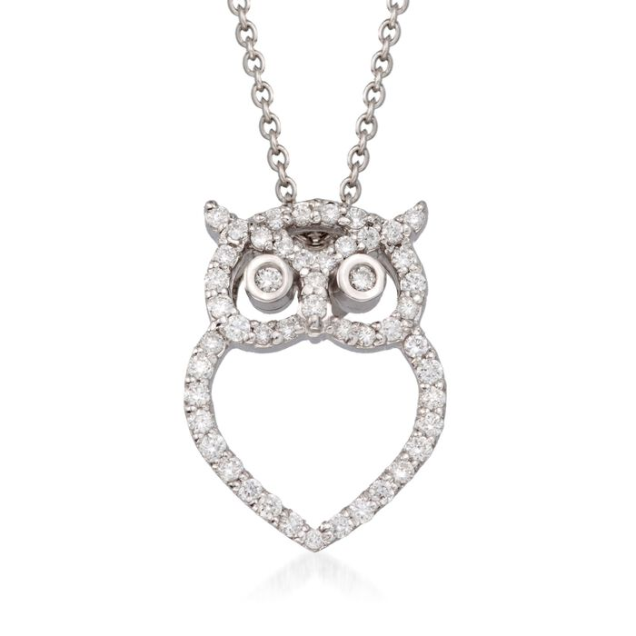 "Roberto Coin ""Tiny Treasures"" .21 ct. t.w. Diamond Owl Pendant Necklace in 18kt White Gold"