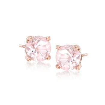 .70 ct. t.w. Morganite Stud Earrings in 18kt Rose Gold Over Sterling, , default