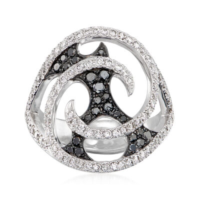 "C. 2010 Vintage Stephen Webster ""Fly by Night"" 1.05 ct. t.w. Black and White Diamond Swirl Ring in 18kt White Gold"