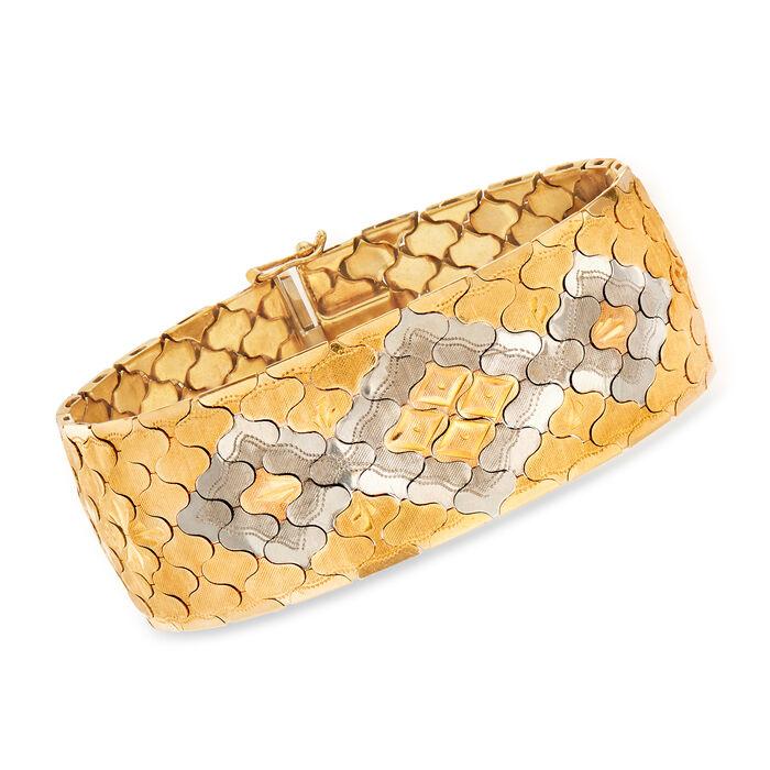 """C. 1970 Vintage 14kt Tri-Colored Gold Bracelet. 7"""""""