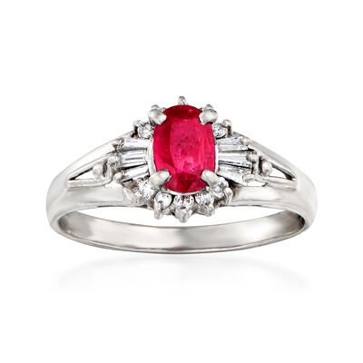 C. 1980 Vintage .61 Carat Ruby and .24 ct. t.w. Diamond Ring in Platinum