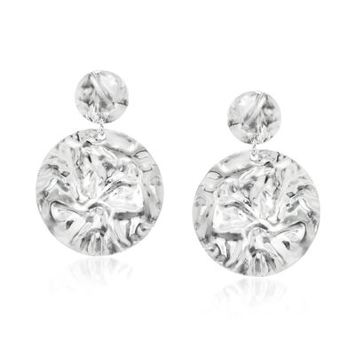 Italian Sterling Silver Crinkle Drop Earrings