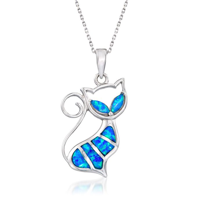 """Blue Synthetic Opal Cat Pendant Necklace in Sterling Silver. 18"""", , default"""