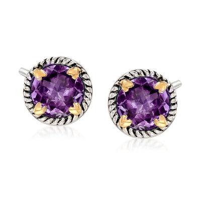 6.75 ct. t.w. Amethyst Rope Frame Earrings with Hearts in Two-Tone Sterling Silver