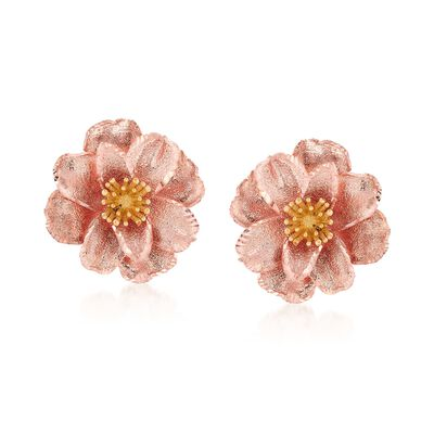 Italian 18kt Two-Tone Gold Flower Earrings , , default