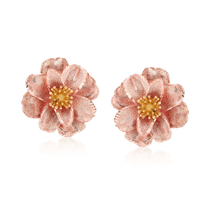 Italian 18kt Two-Tone Gold Flower Earrings, , default