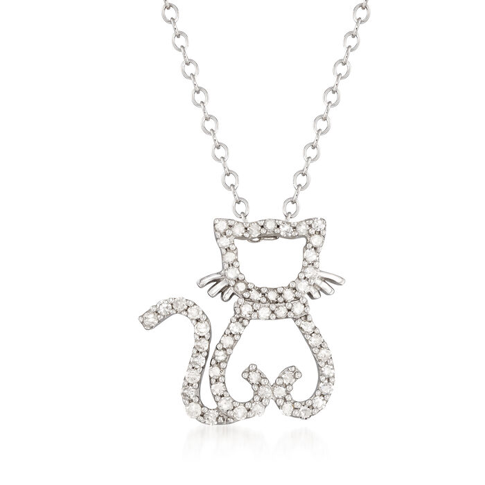 .25 ct. t.w. Diamond Cat Necklace in Sterling Silver