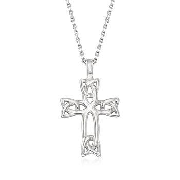 Sterling Silver Celtic Trinity Knot Cross Pendant Necklace, , default