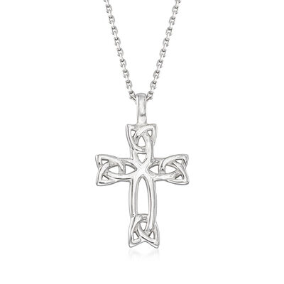 Sterling Silver Celtic Trinity Knot Cross Pendant Necklace, , default