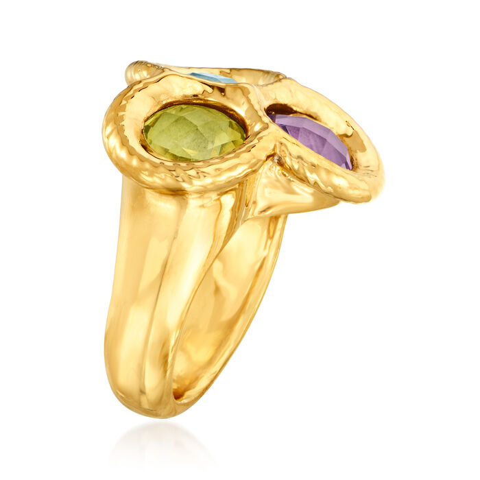 Italian Andiamo 4.50 ct. t.w. Multi-Gemstone 14kt Yellow Gold Ring