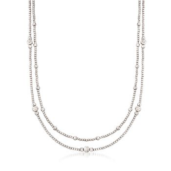 Italian 2.5-6mm Sterling Silver Layered Bead Necklace, , default