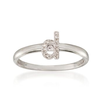 """Diamond Accent Mini Initial """"D"""" Ring in Sterling Silver, , default"""