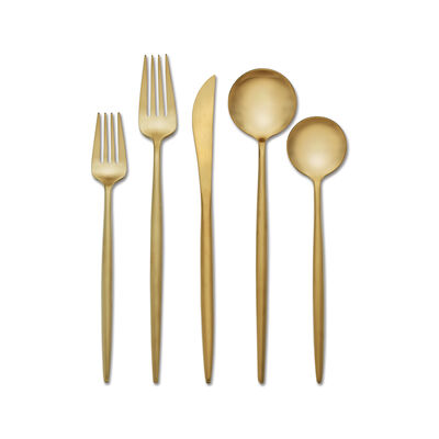 "Skandia ""Zephyr"" 20-pc. Satin Gold-Tone 18/0 Stainless Steel Flatware Set, , default"