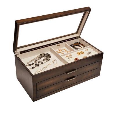 "Mele & Co. ""Nova"" Mocha Wooden Glass Top Jewelry Box, , default"
