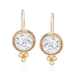 4.00 ct. t.w. Bezel-Set CZ and Bead Drop Earrings in 14kt Yellow Gold , , default
