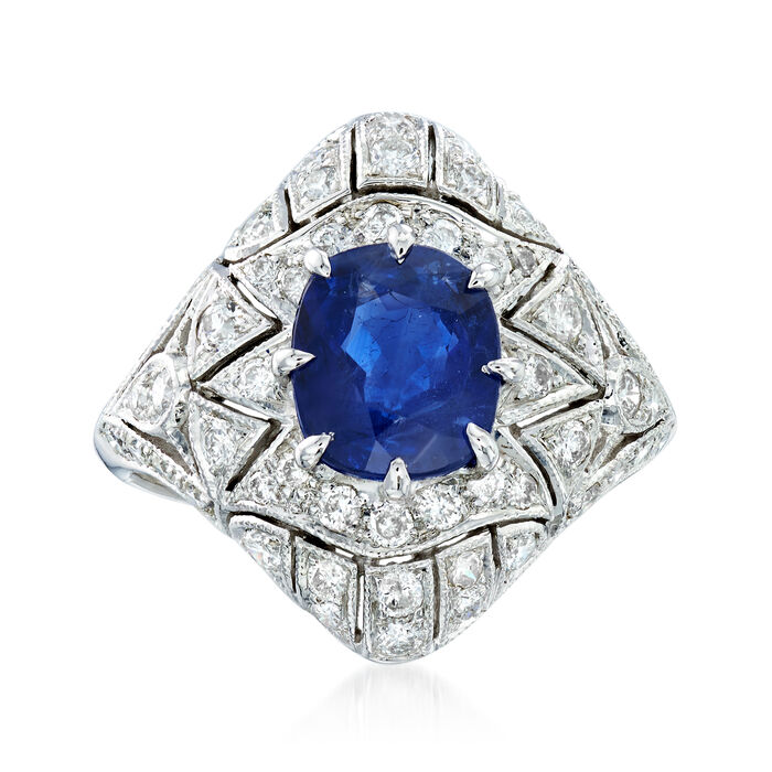 C. 1990 Vintage 2.28 Carat Sapphire and 1.25 ct. t.w. Diamond Filigree Ring in 18kt White Gold. Size 6.75, , default