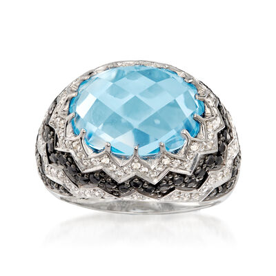 7.45 ct. t.w. Sky Blue and White Topaz and .80 ct. t.w. Black Spinel Ring in Sterling Silver