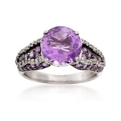3.50 ct. t.w. Amethyst and .20 ct. t.w. White Topaz Ring in Sterling Silver, , default