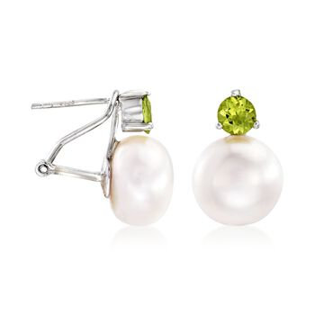 11.5-12mm Cultured Pearl and 1.00 ct. t.w. Peridot Earrings in Sterling Silver