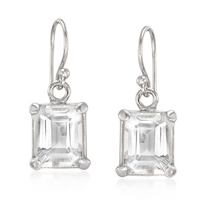 6.50 ct. t.w. Emerald-Cut White Topaz Drop Earrings in Sterling Silver, , default