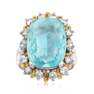 C. 1970 Vintage 12.92 Carat Aquamarine and 1.41 ct. t.w. Diamond Ring in Platinum and 18kt Gold, , default