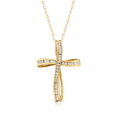 C. 1980 Vintage .50 ct. t.w. Diamond Cross Pendant Necklace in 10kt Yellow Gold, , default