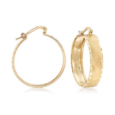Italian 14kt Yellow Gold Brushed and Diamond-Cut Hoop Earrings, , default