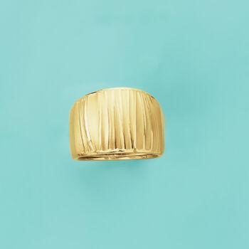 Italian 18kt Yellow Gold Wide Ripple Ring, , default