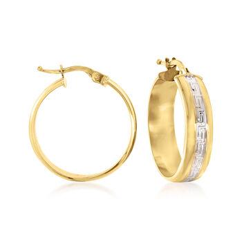 """Italian 14kt Two-Tone Gold Greek Key Hoop Earrings. 7/8""""., , default"""