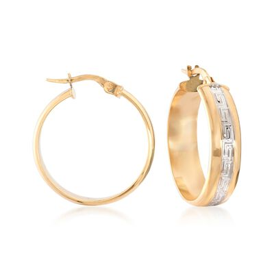 Italian 14kt Two-Tone Gold Greek Key Hoop Earrings , , default