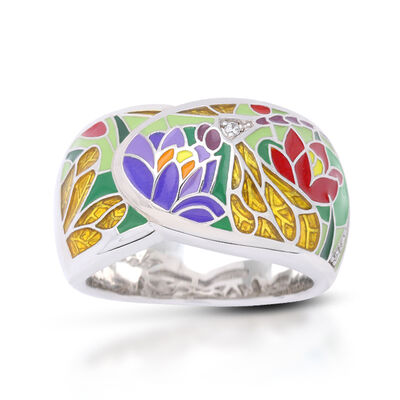 """Belle Etoile """"Dragonfly"""" Green and Gold Enamel Ring with CZ Accents in Sterling Silver"""